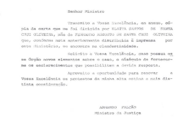 Carta em que o ministro da Justiça do governo Geisel, Armando Falcão, afirma que Fernando Santa Cruz, desaparecido em 1974, estava na clandestinidade