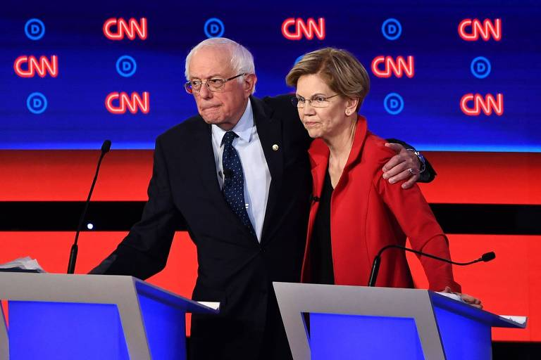 Bernie Sanderz e Elizabeth Warren, da ala mais progressista do Partido Democrata, debateram lado a lado