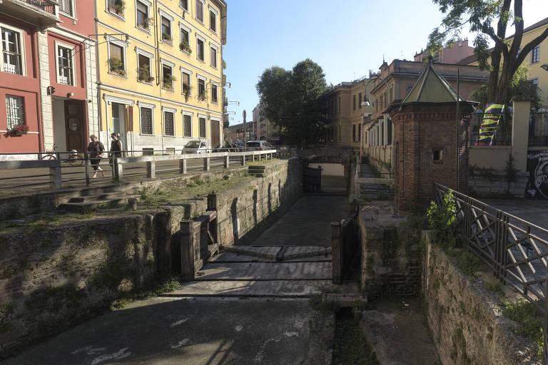 Eclusa Conca dell'Incoronata, em Milão, construída com a participação de Leonardo da Vinci