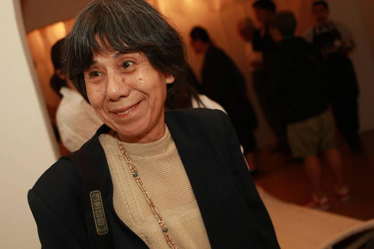 Sachiko Koshikoku em abertura de exposição na Galeria Deco, em São Paulo