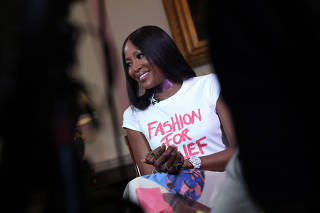 International supermodel and activist Naomi Campbell speaks to Reuters during an interview in London