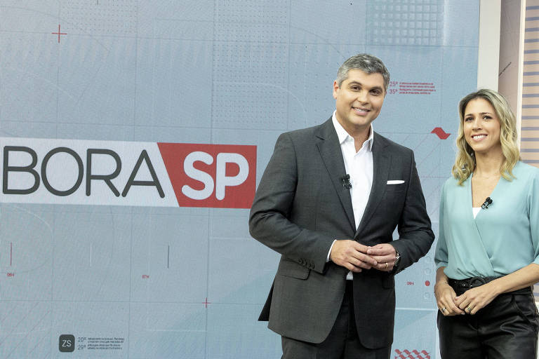 "Joel Datena e Laura Ferreira no novo telejornal da Band, ""Bora SP"""