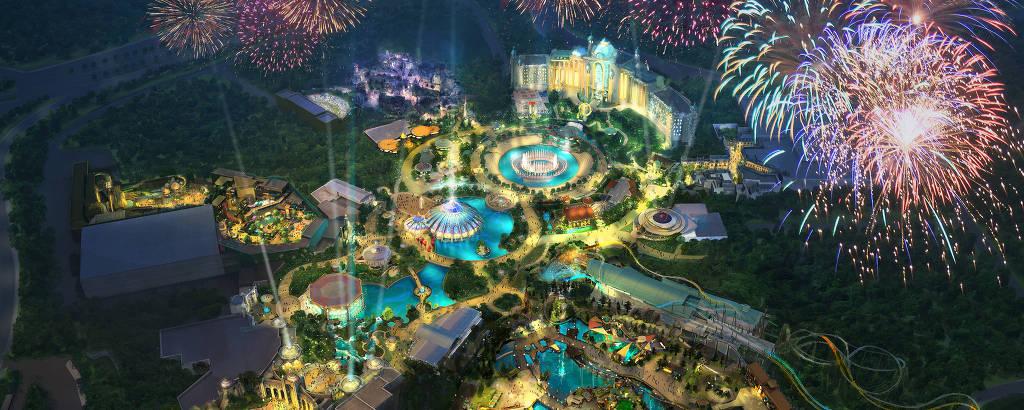 Ilustração de como será o nome parque da Universal, em Orlando