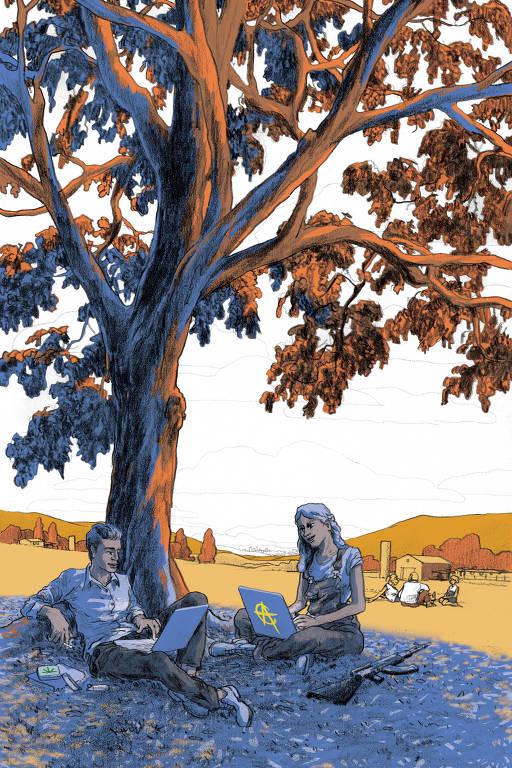 jovens libertários sob árvore