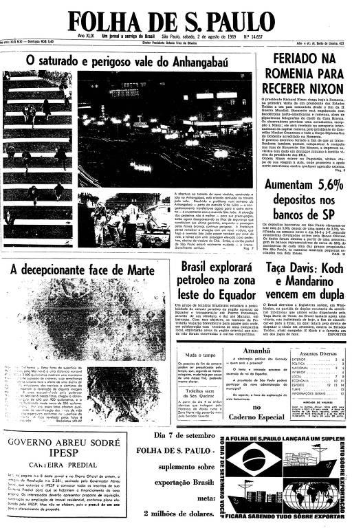 Primeira página da Folha de S.Paulo de 2 de agosto de 1969