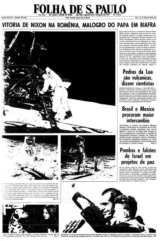 Primeira página da Folha de S.Paulo de 4 de agosto de 1969