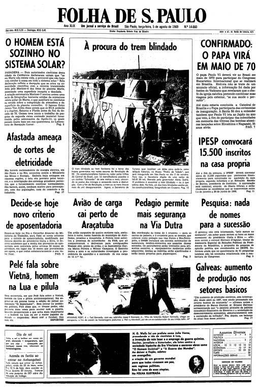 Primeira página da Folha de S.Paulo de 5 de agosto de 1969
