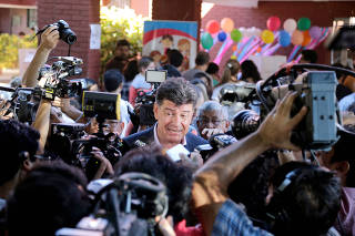 Paraguayan Presidential candidate Efrain Alegre of GANAR coalition makes declarations to the media after casting his vote in a polling station in Asuncion