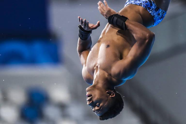 Isaac Souza em treino da equipe de Saltos ornamentais no Pan-2019