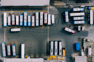 Garagem da Transwolff, na zona sul de São Paulo