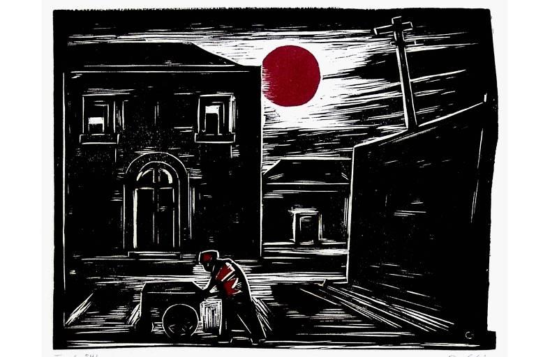 gravura em preto, branco e vermelho
