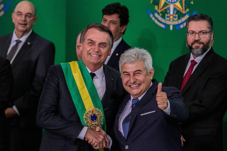 O presidente da república Jair Bolsonaro (PSL), com o ministro da ciência e tecnologia, Marcos Pontes
