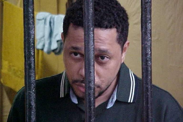 O traficante Elias Pereira da Silva, o Elias Maluco, na carceragem do Batalhão de Choque da Polícia Militar do Rio de Janeiro