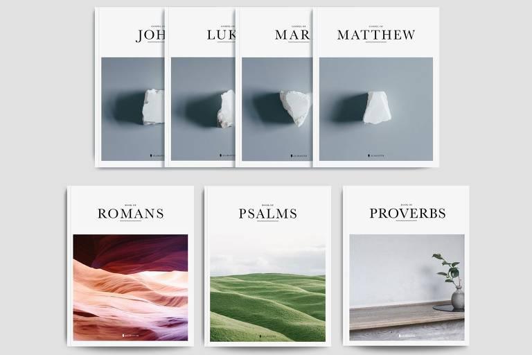 Bíblias com fotos de paisagens na capa