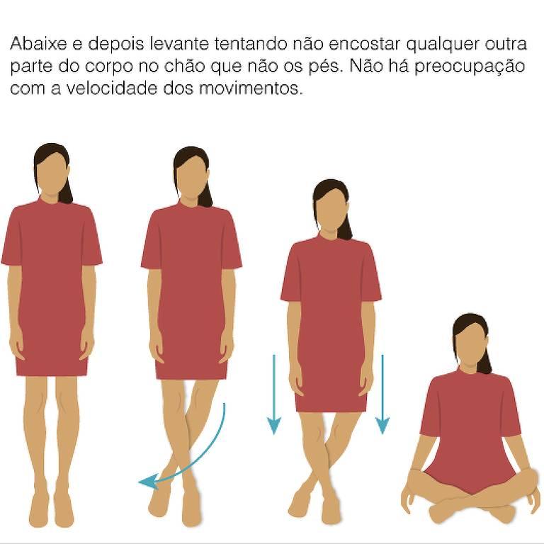 Teste de saúde para sentar e levantar