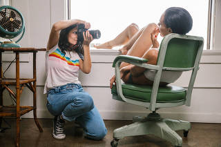 Ana Dias photographing Teela LaRoux, Playboy's July Playmate, in Los Angeles on Mar. 5, 2019. (Stephanie Noritz for The New York Times)