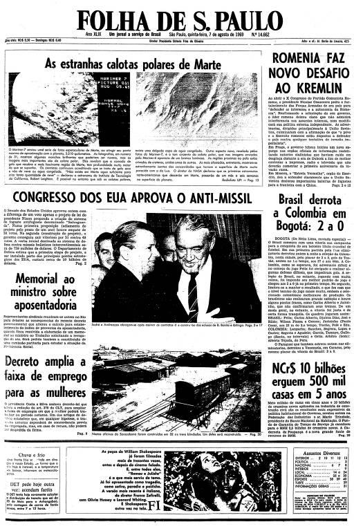 Primeira página da Folha de S.Paulo de 7 de agosto de 1969