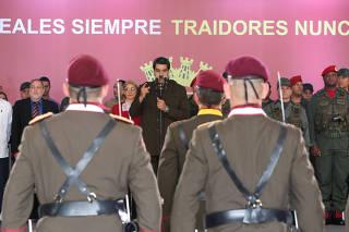 Venezuela's President Nicolas Maduro speaks during the anniversary ceremony of the Venezuelan National Guard in Caracas