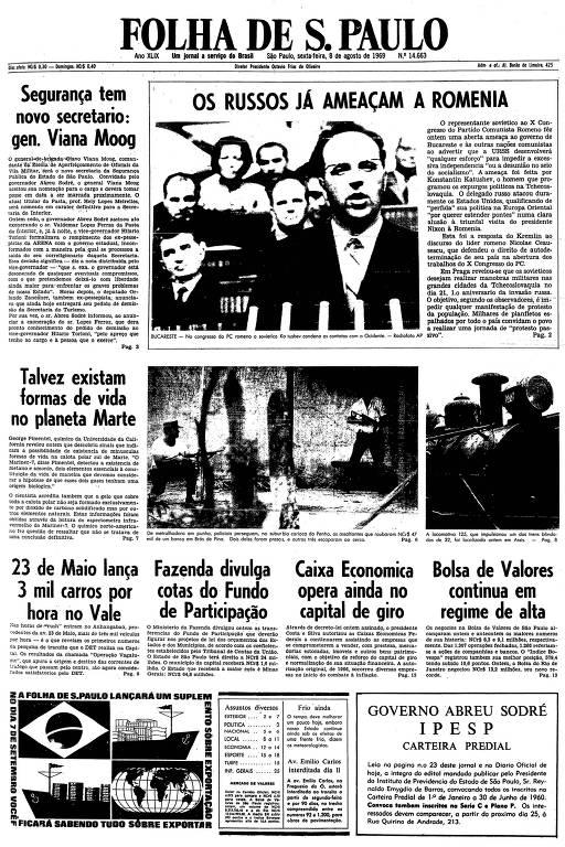Primeira página da Folha de S.Paulo de 8 de agosto de 1969
