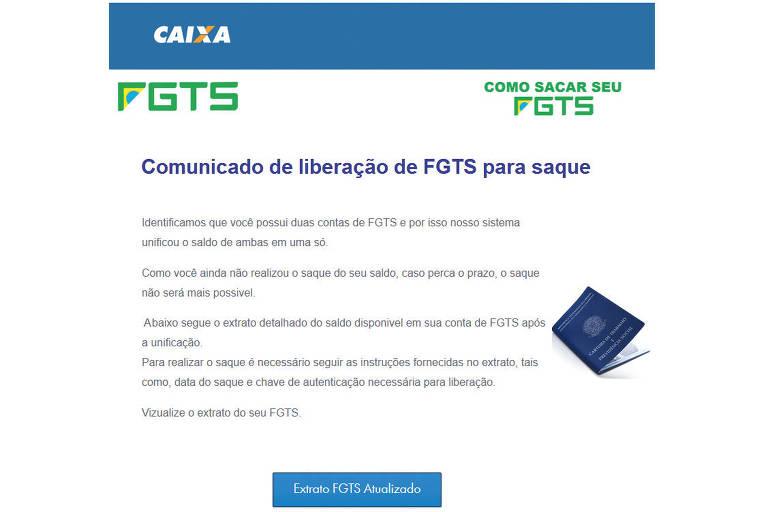 Email fraudulento com golpe do FGTS