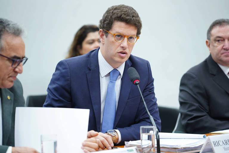 Ricardo Salles, ministro do Meio Ambiente, durante Audiência Pública sobre o Fundo Amazônia na Câmara dos Deputados