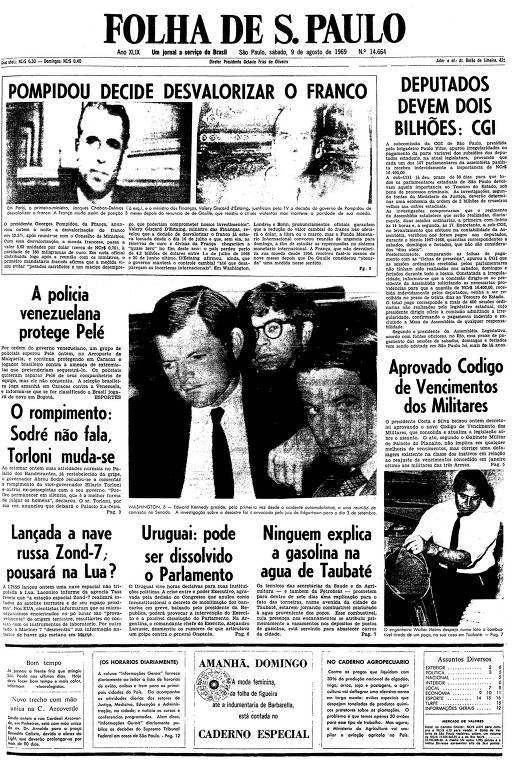 Primeira página da Folha de S.Paulo de 9 de agosto de 1969