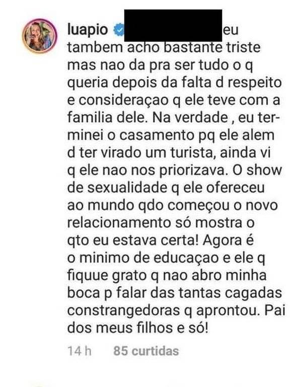 Comentário Luana Piovani