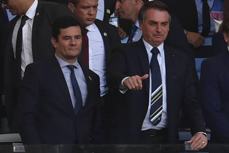 Sergio Moro e Jair Bolsonaro, durante jogo da Copa América, no Maracanã, em julho