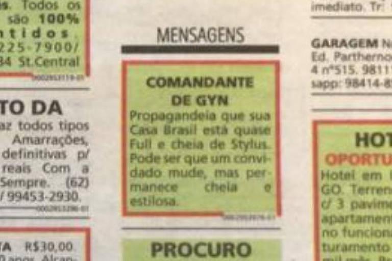 Anúncio cifrado em jornal, publicado no dia 21 de março de 2019, revelou com três meses de antecedência vencedoras de licitação de R$ 20 milhões para publicidade da prefeitura de Goiânia