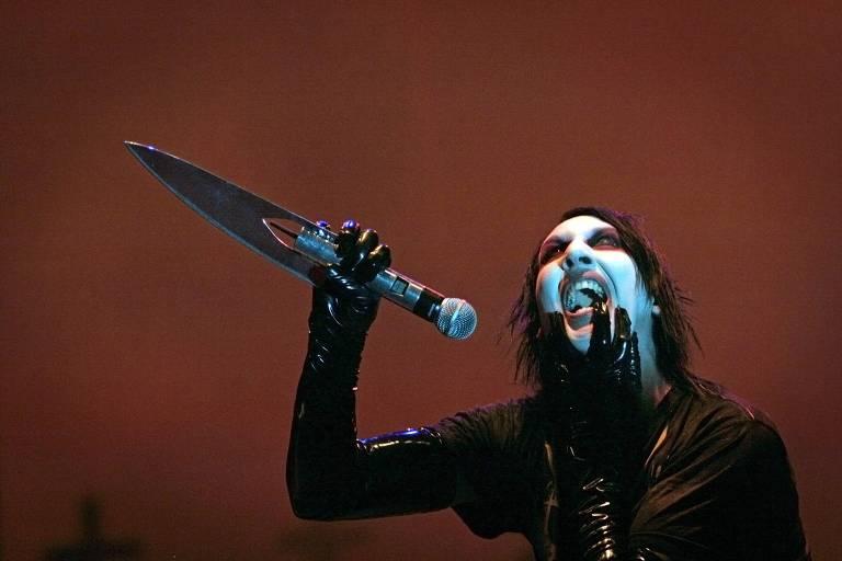 O cantor Marilyn Manson durante show em Bucareste (Romênia) em 2007