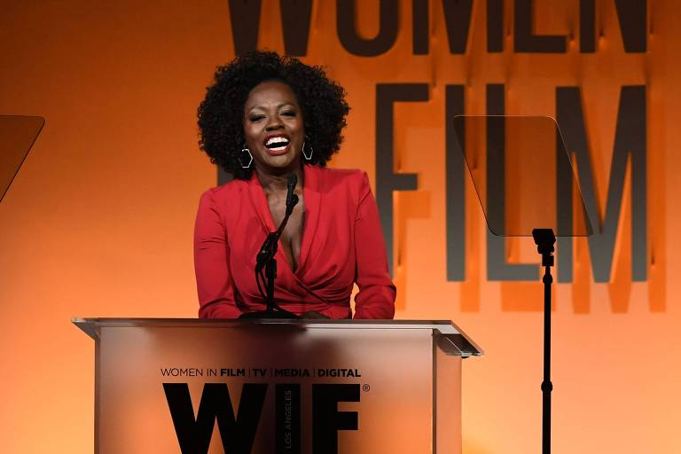 A atriz Viola Davis durante o Women in Film Annual Gala 2019