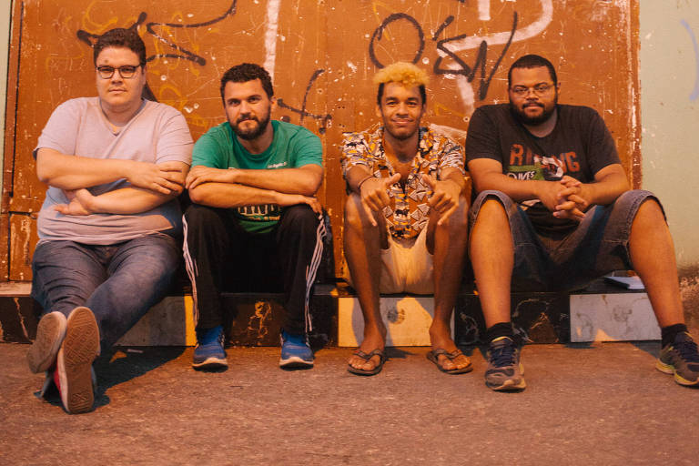 Os cineastas da Filmes de Plástico (da esq. para a dir.): Thiago Macêdo Correia, Maurílio Martins, Gabriel Martins e André Novais Oliveira