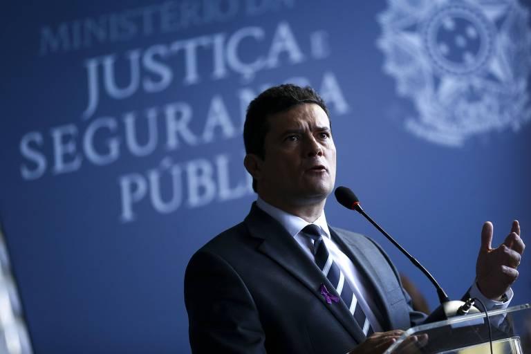 O ministro da Justiça, Sergio Moro, durante cerimônia em Brasília na quarta (7)