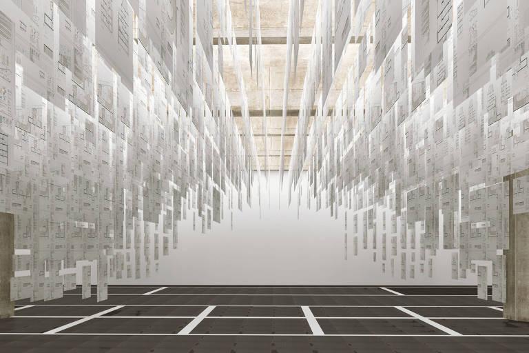 Projeção de como ficará a instalação do arquiteto na qual 10 mil folhas de papel usadas por escritórios de arquitetura, que ganharam tratamento antichama, formarão um pendente do teto no Boomspdesign