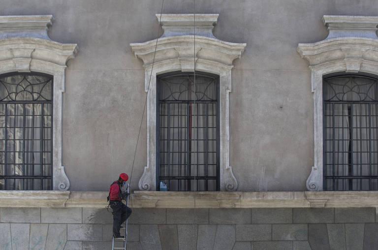 Fachada da Faculdade de Direito do Largo de São Francisco, da USP, passa por reforma financiada por ex-alunos como Dias Toffoli, presidente do STF
