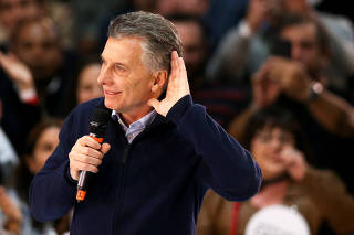 Argentine President Mauricio Macri attends a rally, in Buenos Aires