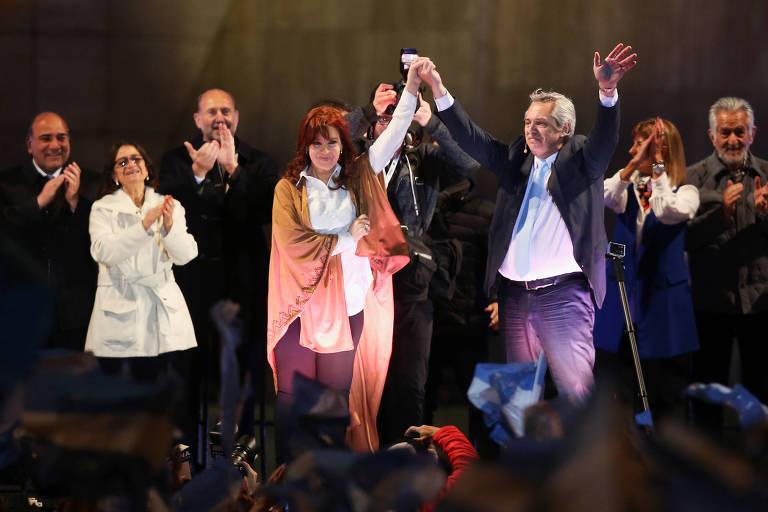 Alberto Fernandéz e Cristina Kirchner em campanha