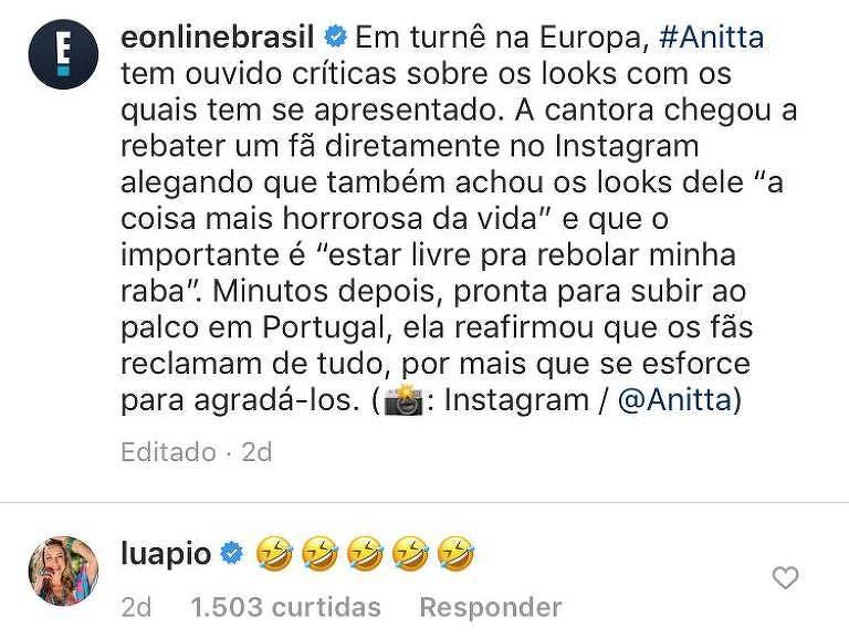 Luana Piovani comenta em publicação que critica Anitta