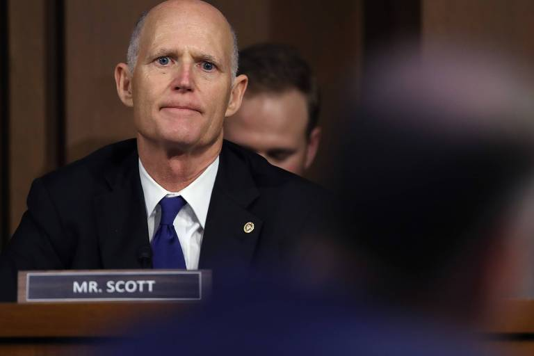 O senador Rick Scott durante fala em Washington