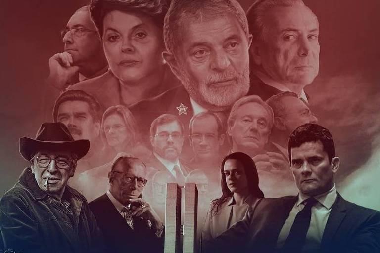Montagem com personagens do impeachment em vídeo da produtora Brasil Paralelo