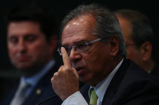 O ministro da Economia, Paulo Guedes, durante seminário em Brasília (DF)