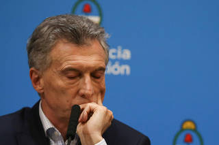 Argentina's President Mauricio Macri attends a news conference in Buenos Aires