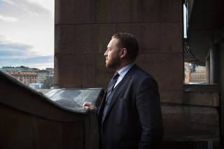Mattias Karlsson, the Sweden Democrats? international secretary and chief ideologist for the party with Neo-Nazi roots, in Stockholm. (Loulou d'Aki/The New York Times)