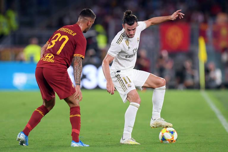 Gareth Bale no amistoso contra a Roma, na Itália. Jogador atuou poucos minutos na pré-temporada