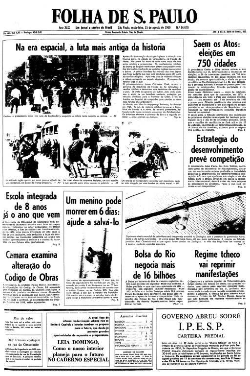 Primeira página da Folha de S.Paulo de 15 de agosto de 1969