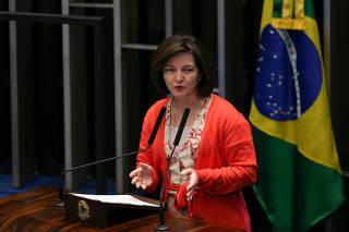 A procuradora-geral da República, Raquel Dodge, em sessão no Senado