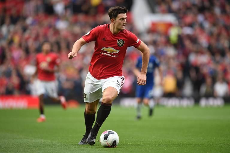 O zagueiro Harry Maguire, que atua pelo Manchester United. Ele foi a contratação mais cara entre os times ingleses nesta janela de transferência .