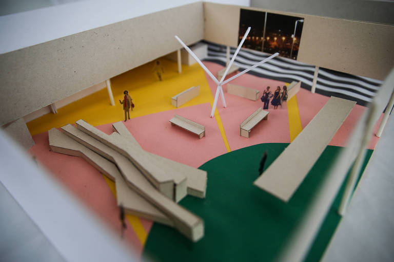 Maquete da exposição sobre a trajetória de Jorge Wilheim, que será abrigada pelo Sesc Consolação