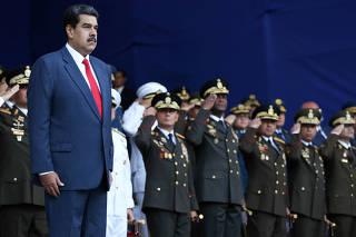 Venezuela's President Nicolas Maduro takes part in a military ceremony in Caracas
