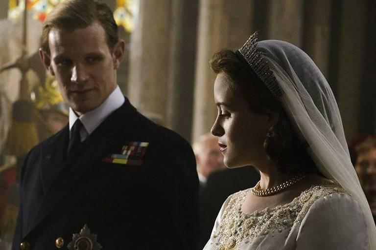 """Cena de """"The Crown"""", protagonizada pela atriz britânica Claire Foy"""